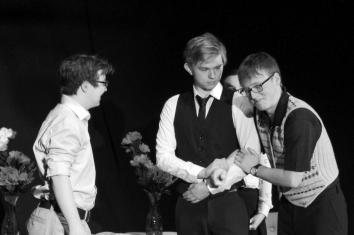 Ewan Gray as Nathan, Shaun Falconer as John Jnr, Calum Telfer as John Snr. Photograph by Molly Barnes