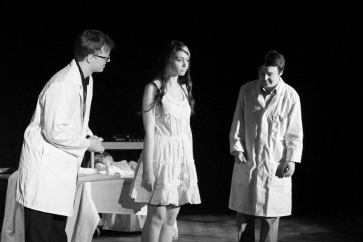 Calum Telfer as John Snr, Ruby Main as Lana, Ewan Gray as Nathan. Photograph by Molly Barnes