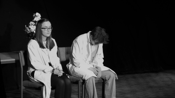 Hannah McAulay as Miranda, Ewan Gray as Nathan. Photograph by Molly Barnes